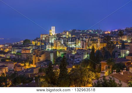 Old town of Grasse at night, town in Provence famous for its perfume industry, France