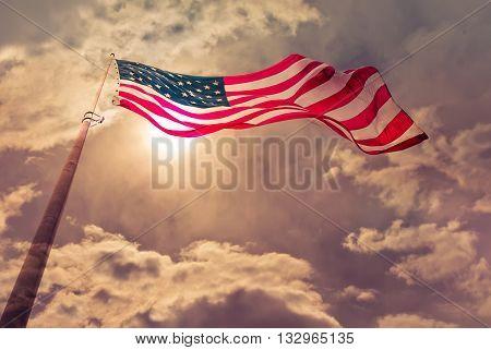 American flag Vintage retro style Double exposure
