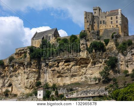 View of the Chateau de Beynac in France's Perigord