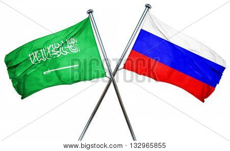 Saudi Arabia flag with Russia flag, 3D rendering