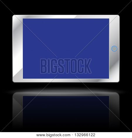 Modern computer tablet isolated on black background. Vector illustration.