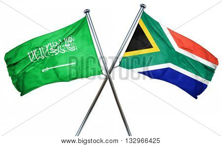 Saudi Arabia flag with South Africa flag, 3D rendering