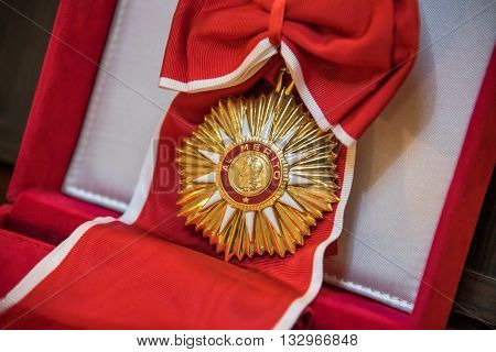 Buenos Aires Argentina - October 20 2015: The Order of May at the ceremony for opening an exhibition dedicated to the 130th anniversary of diplomatic relations between Russia and Argentina.