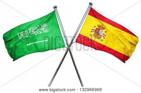 Saudi Arabia flag with Spain flag, 3D rendering