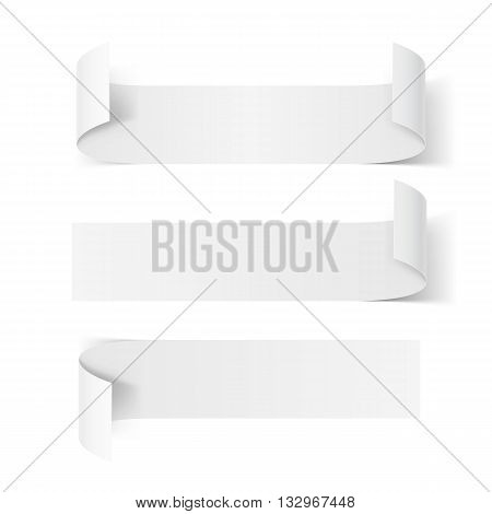 Set of White Paper Stickers with Bended Coner