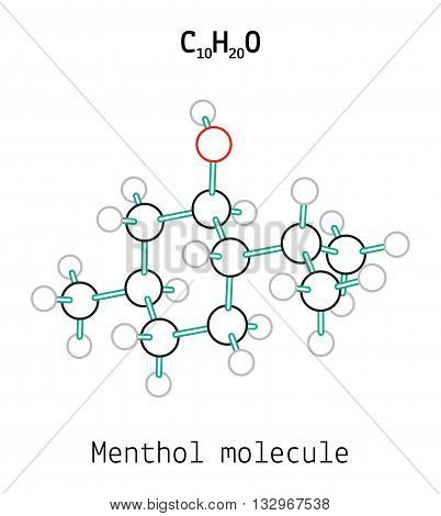C10H20O Menthol 3d molecule isolated on white