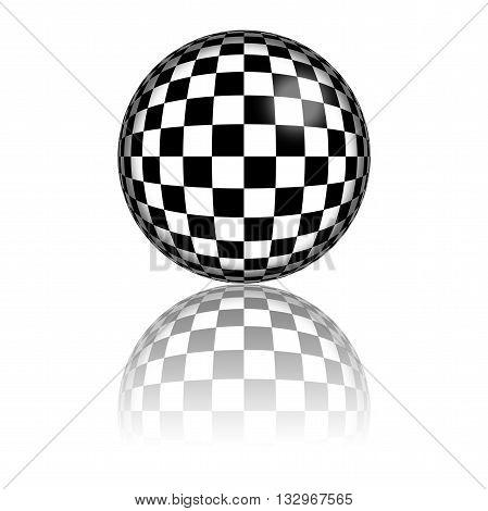 Checkered Flag Sphere 3D Rendering