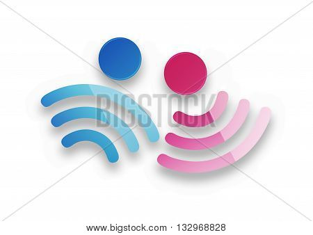 male and female symbols as a sign of free wi fi with soft shadow on a white background