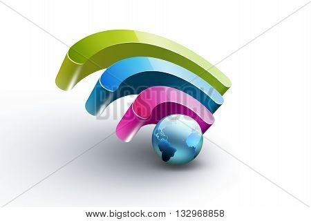 Bright colorful symbol of Wi Fi with blue world on white background, 3D illustration