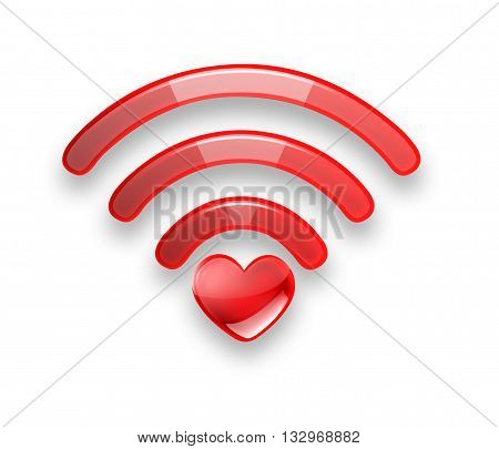 Red symbol of the free Wi fi with a heart on a white background, 3D illustration