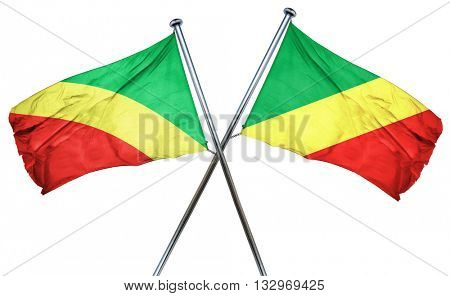 Congo flag with Congo flag, 3D rendering