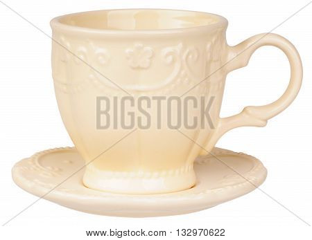 Empty ceramic cup and saucer isolated on the white white background