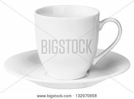 Empty ceramic coffee cup and saucer isolated on the white