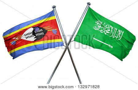 Swaziland flag with Saudi Arabia flag, 3D rendering