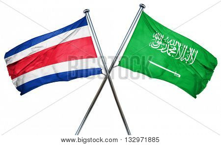 Costa Rica flag with Saudi Arabia flag, 3D rendering