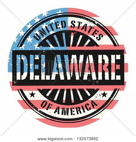 Grunge rubber stamp with the text United States of America, Delaware, vector illustration