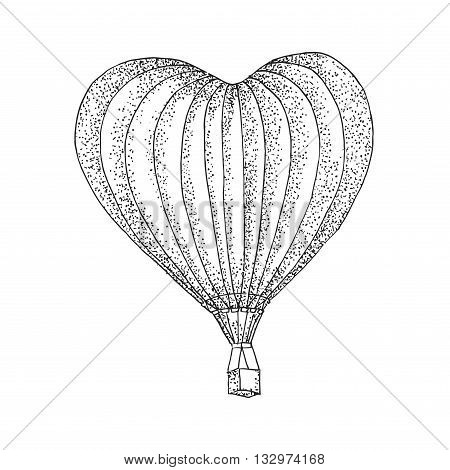 Hot Air aerostat vector logo design template. retro airship or transport icon.Balloon in the form of heart
