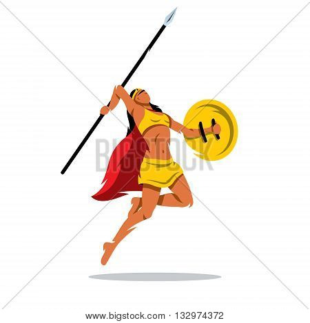 A woman with a shield and sword jumping in a yellow dress isolated on a white background