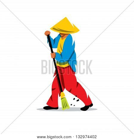 A man with a broom sweeps the dust. Isolated on a white background