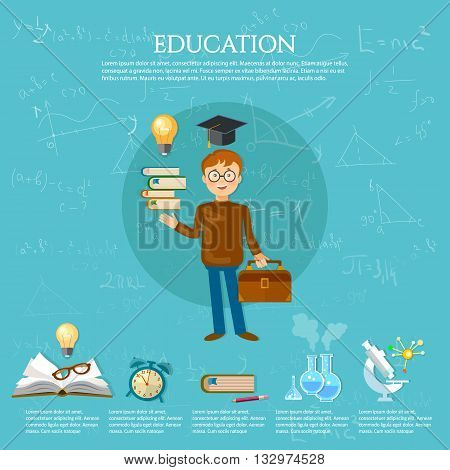 Education infographics student goes to school book of knowledge school background vector illustration
