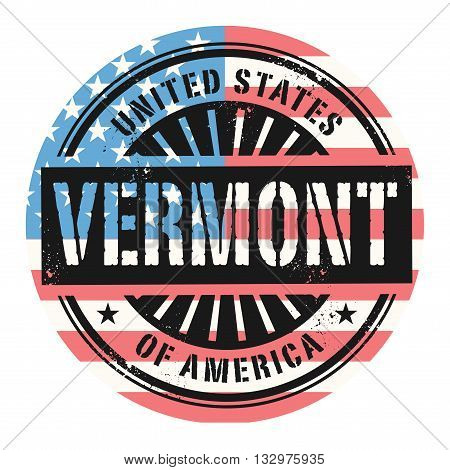 Grunge rubber stamp with the text United States of America, Vermont, vector illustration