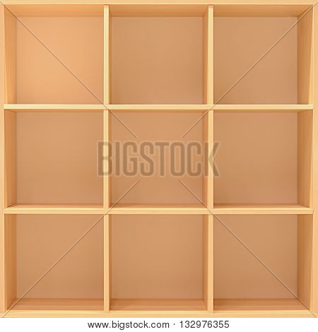 Empty wooden cabinet as bookcase or bookshelf
