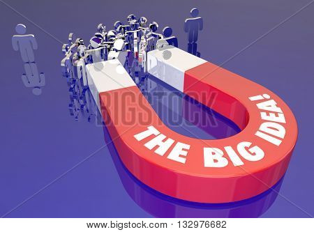 The Big Idea Creative Imagination People Words Magnet 3d Illustration