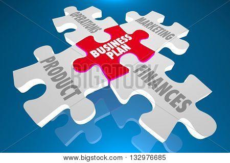 Business Plan Product Marketing Finances Puzzle 3d Illustration