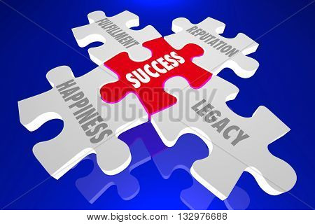 Success Elements Principles Puzzle Pieces Words 3d Illustration