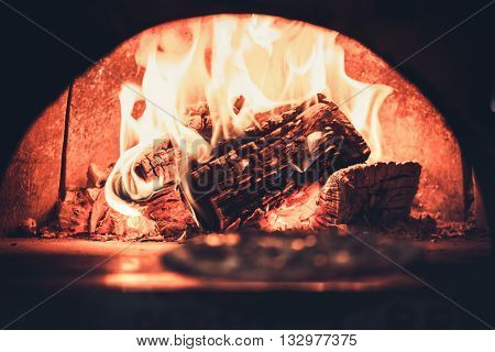 close up fireplace in modern restaurant interior