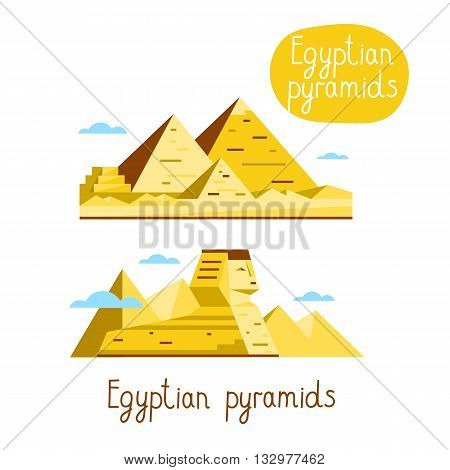 Egyptian pyramids. Famous world landmarks icon concept. Journey around the world. Tourism and vacation theme. Modern design flat vector illustration.