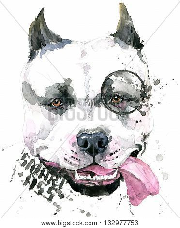 poster of Cute Dog. Dog T-shirt graphics. watercolor Dog illustration. watercolor funny Dog for fashion print, poster, fashion design. Aggressive dog breed.