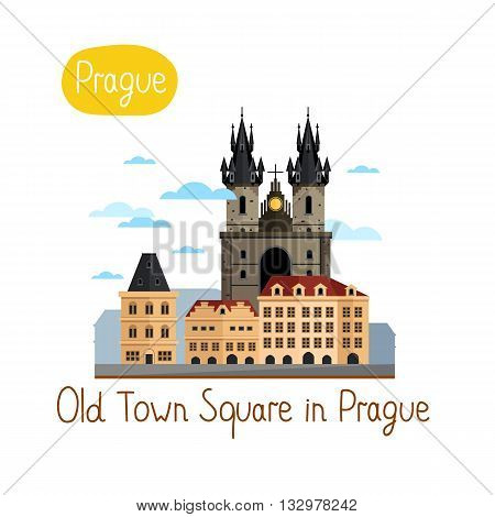 Old Town Square in Prague. Famous world landmarks icon concept. Journey around the world. Tourism and vacation theme. Modern design flat vector illustration.