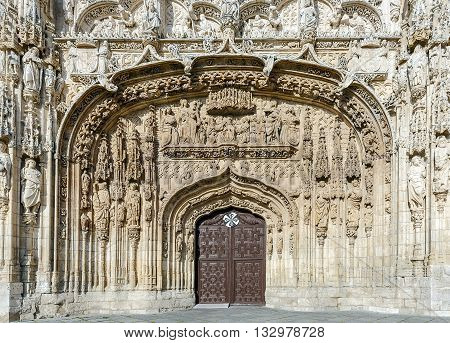 Facade of the San Pable Church (15th Century) in Valladolid Castile and Leon Spain.
