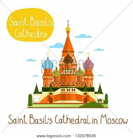 Saint Basil's Cathedral in Moscow. Famous world landmarks icon concept. Journey around the world. Tourism and vacation theme. Modern design flat vector illustration.