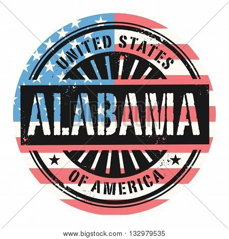 Grunge rubber stamp with the text United States of America, Alabama, vector illustration