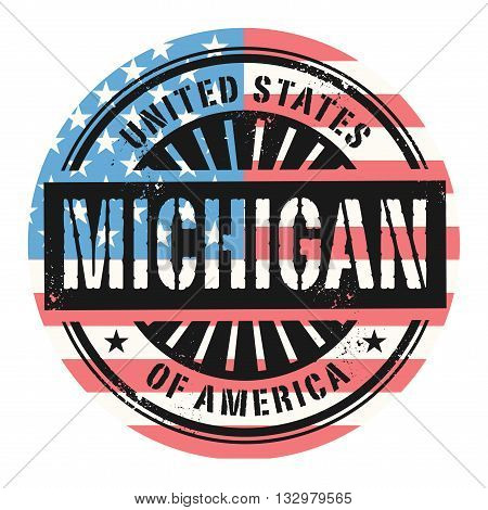 Grunge rubber stamp with the text United States of America, Michigan, vector illustration