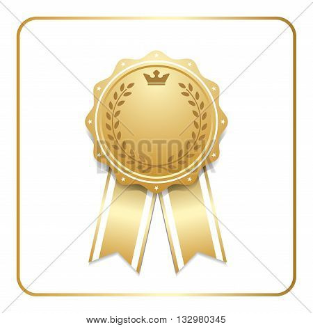 Award ribbon gold icon. Blank medal with laurel wreath isolated on white background. Stamp rosette design trophy. Golden symbol of winner celebration sport competition champion. Vector illustration