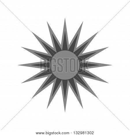 Sun icon. Light sign with sunbeams. Black design element isolated on white background. Symbol of sunrise heat sunny and sunset sunlight. Flat modern style for weather forecast. Vector Illustration