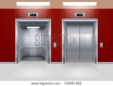 Open and Closed Modern Metal Elevator Doors. Hall Interior in Red Colors
