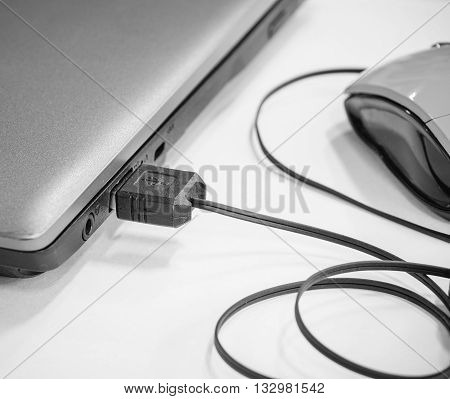 USB cable with mouse device plugged into laptop port black and white effect (selective focus)