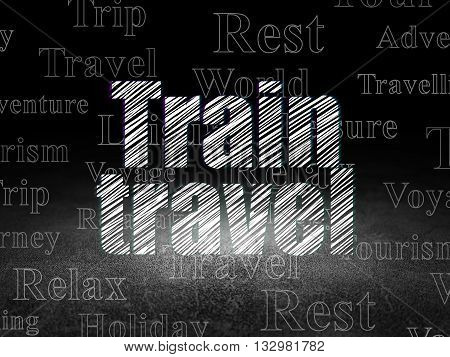 Vacation concept: Glowing text Train Travel in grunge dark room with Dirty Floor, black background with  Tag Cloud