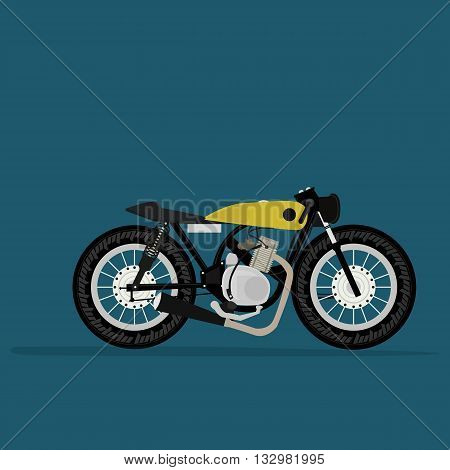 Cool vector classic design street cruiser motorcycle in trendy flat design, isolated. Classic retro bike motor two wheeled vehicle