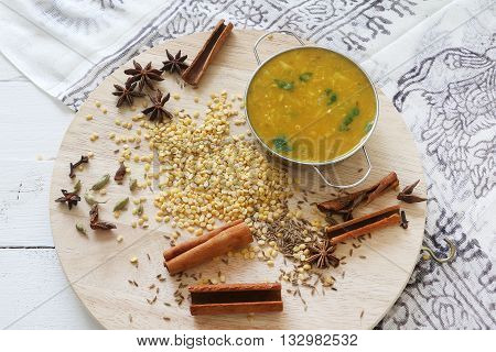 Dal or Lintel soup, nepalese or indian daily meal normaly served with bread or rice