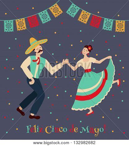 vector illustration of happy dancing mexican couple celebrating Cinco de Mayo. Feliz Cinco de Mayo text is translated as Happy Fifth of May.