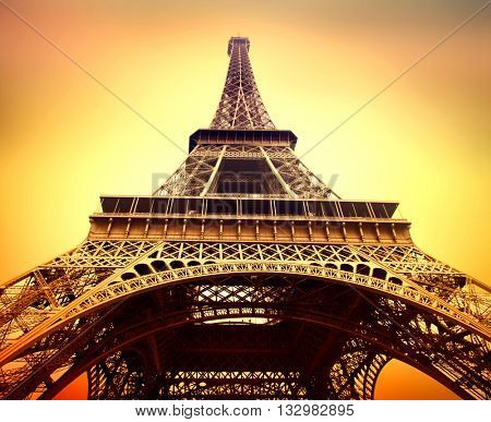 Paris. Eiffel Tower at sunrise close up, Paris, France. Beautiful Romantic background