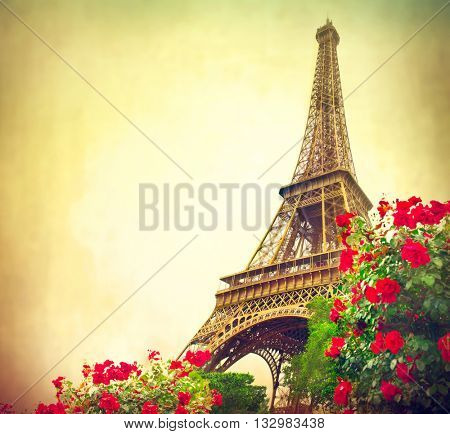 Paris. Eiffel Tower at sunrise, Paris, France. Beautiful Romantic background. Eiffel Tower from Champ de Mars, Paris. Vintage styled art design