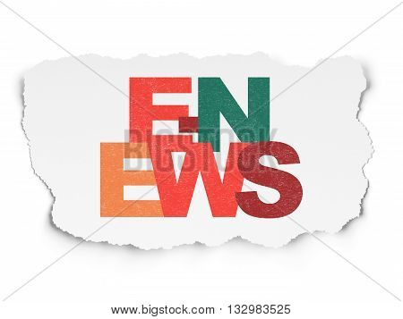 News concept: Painted multicolor text E-news on Torn Paper background