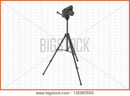 photocamera tripod isometric flat vector 3d illustration. camera on tripod isolated on white background.