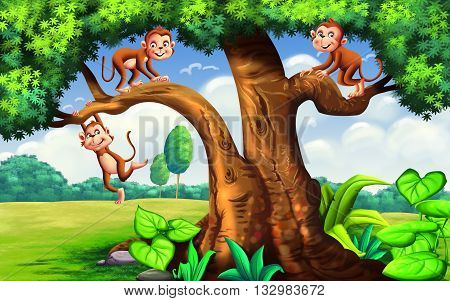 Story of Three Naughty Monkeys for kids